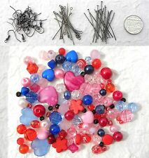 Earring Kit Pink Red & Blue Beads Earwires Headpins & Eyepins Christmas Gift