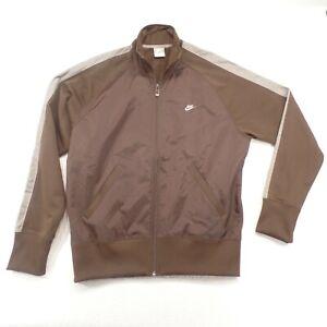 Nike Mens Full Zip Brown WindBreaker Reflective Jogging  Track Jacket Size Large