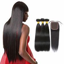 Unprocessed Straight Virgin Human Hair 3 Bundles w/4*4 Free Part Lace Closure