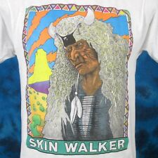 vtg 80s SKIN WALKER NATIVE AMERICAN SUNSET PAPER THIN T-Shirt S cowboy indian