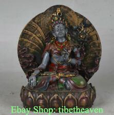 "5.6"" Old Tibet resin Painting  White Tara Spirit of Compassion Goddess Statue"