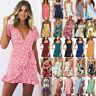 Boho Womens Summer Mini Dress Bandeau V Neck Holiday Beach Party Floral Sundress