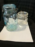 "Vintage Blue Atlas E - Z Seal Mason Canning Fruit Jar 7.25"" wire lid & WF *(vic)"