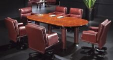 Luxury Executive Meeting Table with Walnut Lacquer and Burgundy Leather Legs