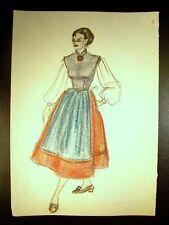 Fashion Maiden 1946-1959 Original  Colored Pencil Sketch By C. Schattauer Kelm