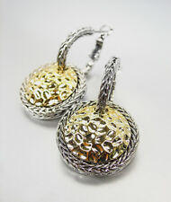 LUXURIOUS Designer 18kt Gold Plated Hammered Texture Wheat Cable Earrings