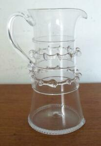 """JULISKA BOHEMIAN GLASS HARRIET PITCHER CLEAR WITH PINCHED DECORATION 7 1/8"""" TALL"""
