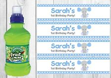 6 Personalised Blue, Elephant, Boy Fruit Shoot Bottle Wrappers Party Favour