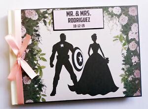 Personalised Captain America wedding guest book, comics themed wedding album