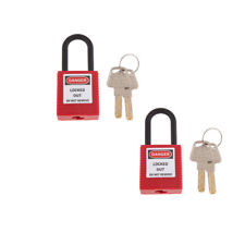 2xRed Nylon Shackle Safety Padlock Keyed Different for Lockout/Tagout