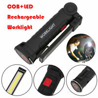 COB+LED Rechargeable Work Light Magnet Flashlight with Hook Folding Torch Lamp