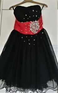 Ladies Red Black Netted Jewelled Party/ Cocktail Dress Size UK 8
