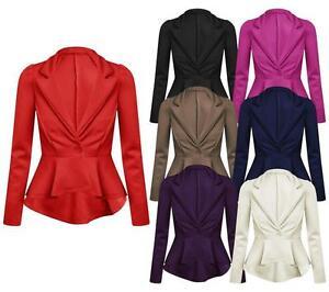 Ladies Stretch Peplum New One Button Long Sleeve Coat/Jacket/ Blazer