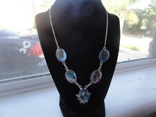"""Topaz Silver Necklace 20"""" Gift Handcrafted Rare Antique Design Rainbow"""