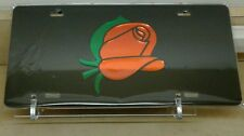 Orange Rose short stem Flower (black) acrylic mirror laser cut license plate