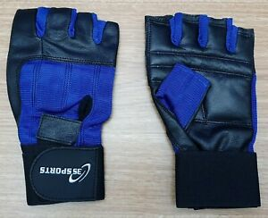 3S SPORTS Unisex Fitness Large Gloves Blue Black Stretchy Back Padded Palms