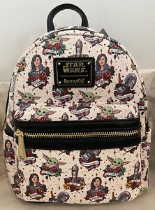 Loungefly Star Wars Mandalorian Tattoo Baby Yoda Cara Dune Grotto Mini Backpack