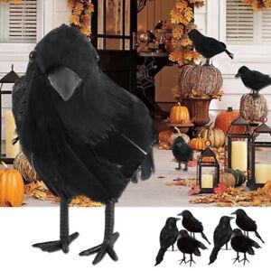 10Pcs Halloween Stuffed Feather Crow Bird Black Ravens Fancy Dress Prop Decor UK