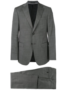 Ermenegildo Z ZEGNA Grey Pinpoint 100% Wool fitted Suit 40 x 34