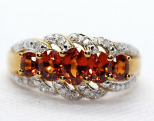 10K Yellow Gold SPESSARTITE 5 Stone GARNET RING 1.80CTW Rd Diamond ACC Size 8