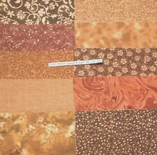 20 pack 10 inch cotton quilting squares Sweet Brown 10 different fabrics L-7