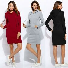 Women Casual Dress Long Sleeve Hoodie Hooded Jumper Pockets Sweater Tops C5s Red Asian S (us Xs(4) UK 6 AU 8)
