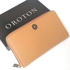 OROTON Wallet Melanie MultiPocket Zip Large Clutch Purse Caramel Leather