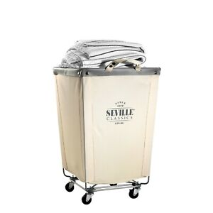 """COMMERCIAL HEAVY-DUTY CANVAS LAUNDRY REMOVABLE BASKET HAMPER WITH WHEELS, 18.1"""""""