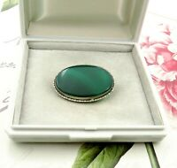 Vintage Antique 925 Sterling Silver Brooch Pin Green Agate Oval C Clasp