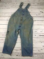 BIG SMITH Overalls Blue Denim Bib Carpenter Farmer Distressed Faded zipper fly