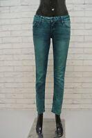 Pantalone Donna GUESS Taglia 27 Jeans Pants Slim Verde Hose Pantalon Elastico