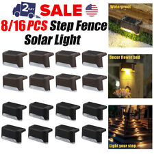 8/16Pcs Solar Powered LED Deck Lights Outdoor Path Garden Stairs Step Fence Lamp