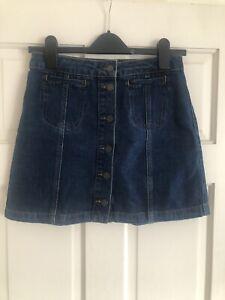 Topshop Moto Petite Blue Denim Button Down Skirt Size 8