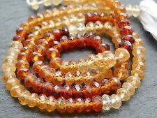 "HAND FACETED HESSONITE GARNET RONDELLES, approx 4.5mm, 14.5"", 140 beads"