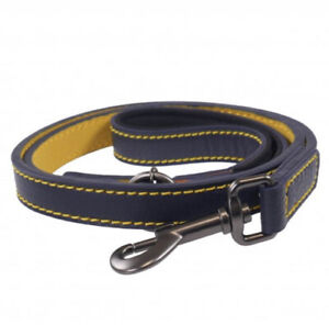 Joules Navy Leather Dog Lead With Padded Handle