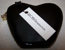 BCBG Generation  KENNEDY Faux Leather Heart Shaped Mini Wallet BLACK ~ NWT $68