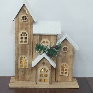 """Rustic Wooden Holiday Light Up Church - Rough Sawn Wood - 15 1/4"""" x 10 1/4"""""""