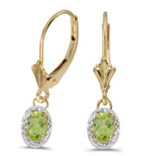 10k Yellow Gold Oval Peridot and Diamond Earrings