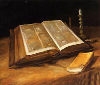 Dream-art Oil painting Vincent Van Gogh - Still Life with book Bible hand paint