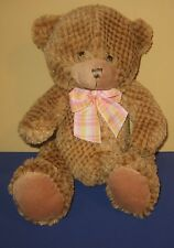 "Sitting 12"" Sparkle Patch Look Cocoa Stuffed Plush Teddy Bear w/ Pink Bow"