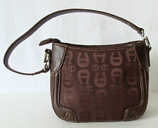 ETIENNE AIGNER Small Chocolate Brown Hand Bag Monogramed Cloth 1 Strap