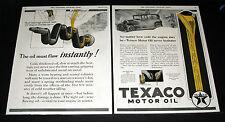 1927 OLD MAGAZINE PRINT AD, TEXACO MOTOR OIL, EVEN COLD IT NEVER HESITATES, ART!
