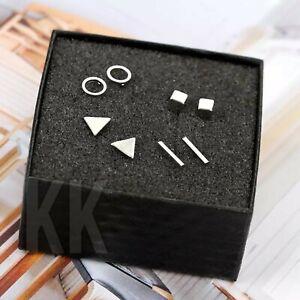 4pairs Gold Silver Tiny Circle T Bar Earring Geometric Triangle Stud Earrings uk