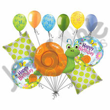 11 pc Cute Swirly Snail Balloon Bouquet Happy Birthday Garden Party Bug Flowers