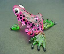 Glass FROG, Spotted Pink Painted Glass Animal Ornament, Cute Glass Figure Gift