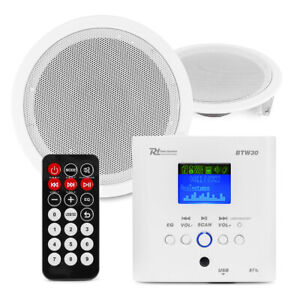 Ceiling Speaker Kit System with Amplifier, Bluetooth, USB, Radio, BTW30SET