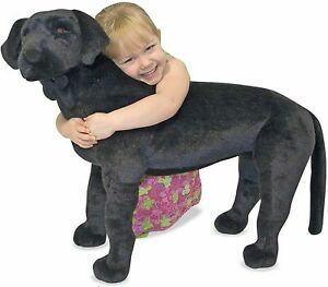 Black Plush Lab Cuddly Toy For Kids - Melissa and Doug