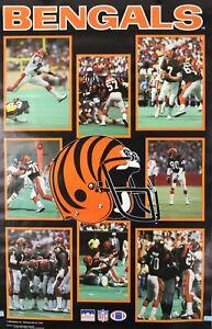 Vintage 1988 CINCINNATI BENGALS 34 x 22 NFL Starline Collage Poster RARE