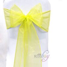 1Pcs Organza Chair Cover Sashes Bow Wedding Party Birthday Banquet Decor Yellow#