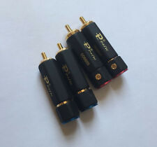 4 Pcs Gold Plated Copper RCA plug-in Locking adapter connector